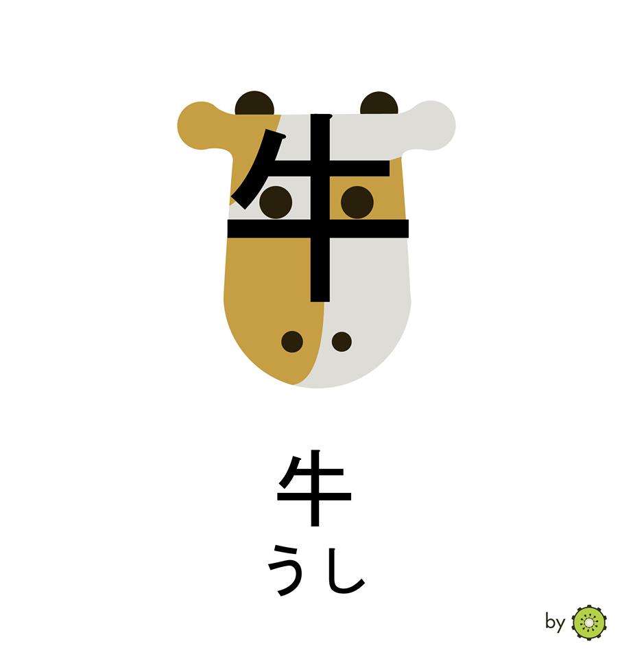 Kanji card - Cow