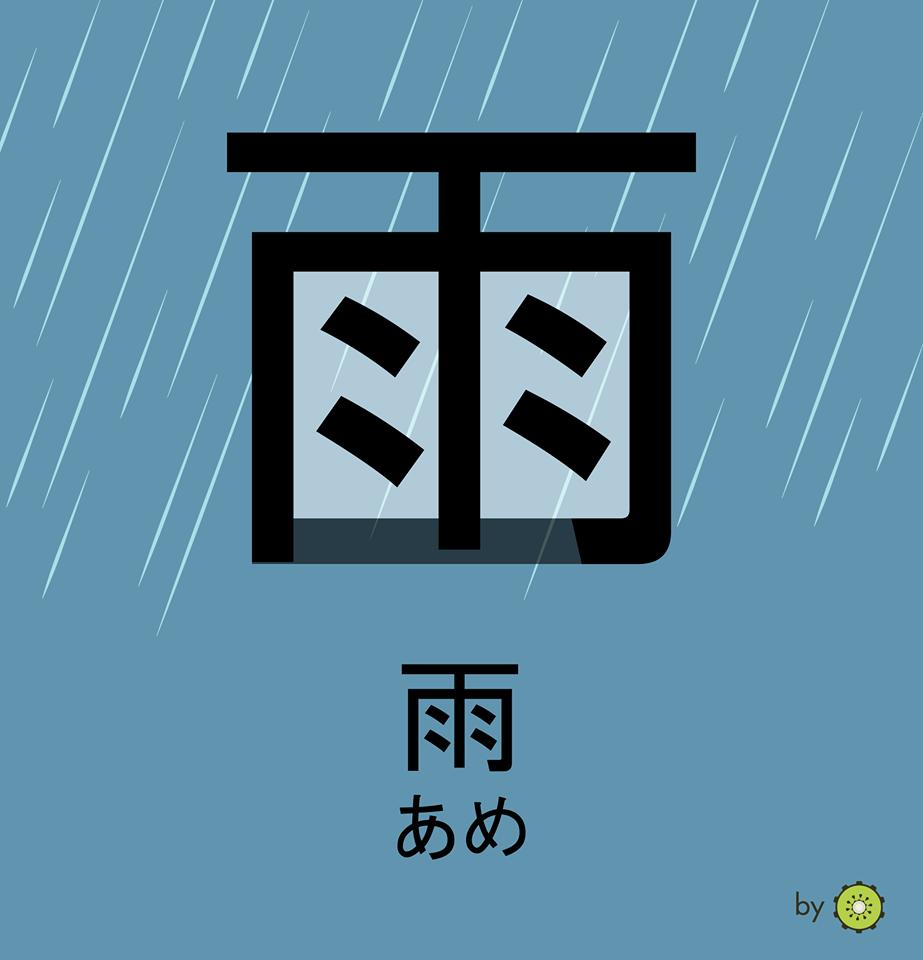Kanji card - rain