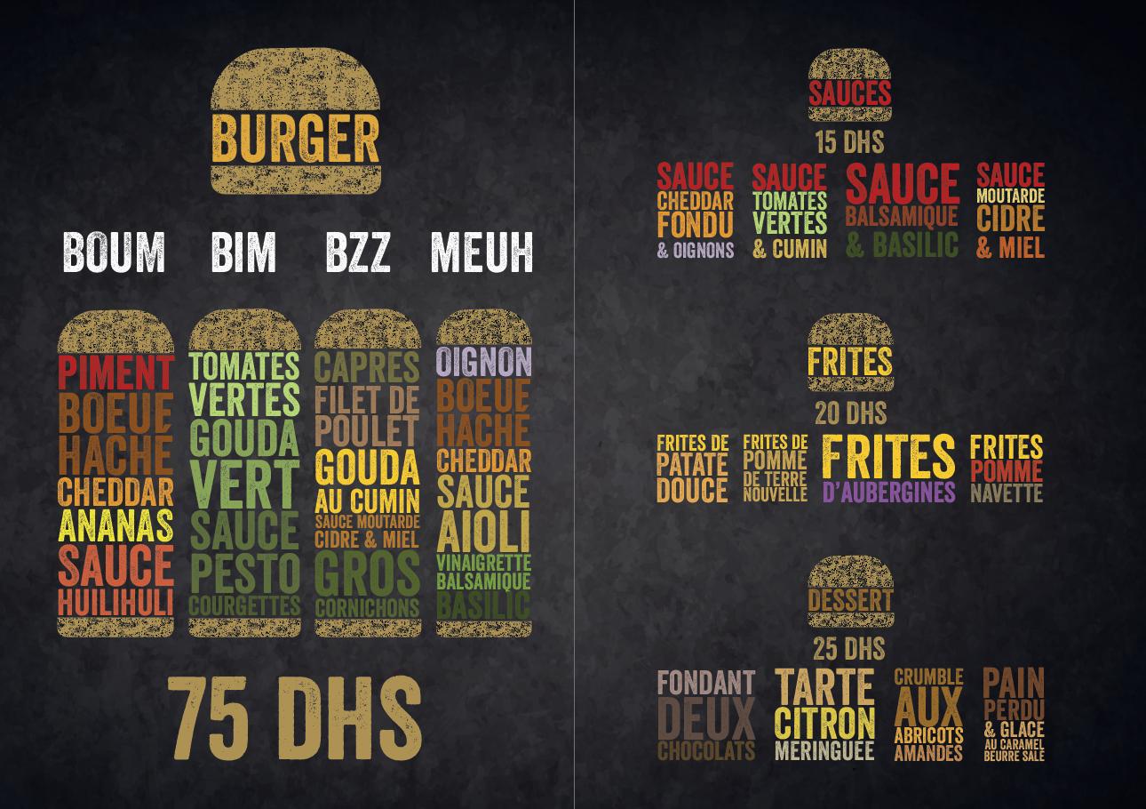 L'atelier du burger - menu