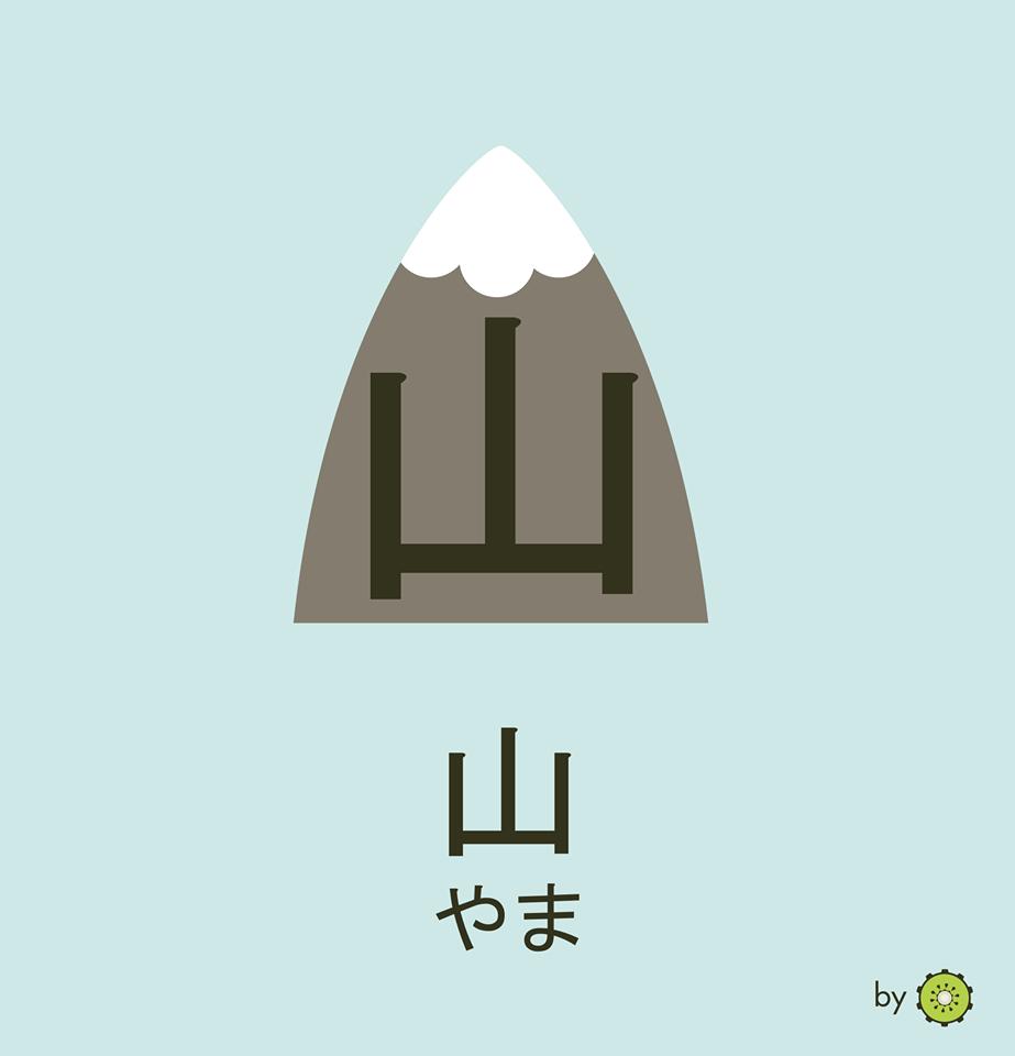 Kanji card - montain