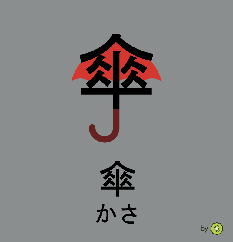 Kanji card - umbrella