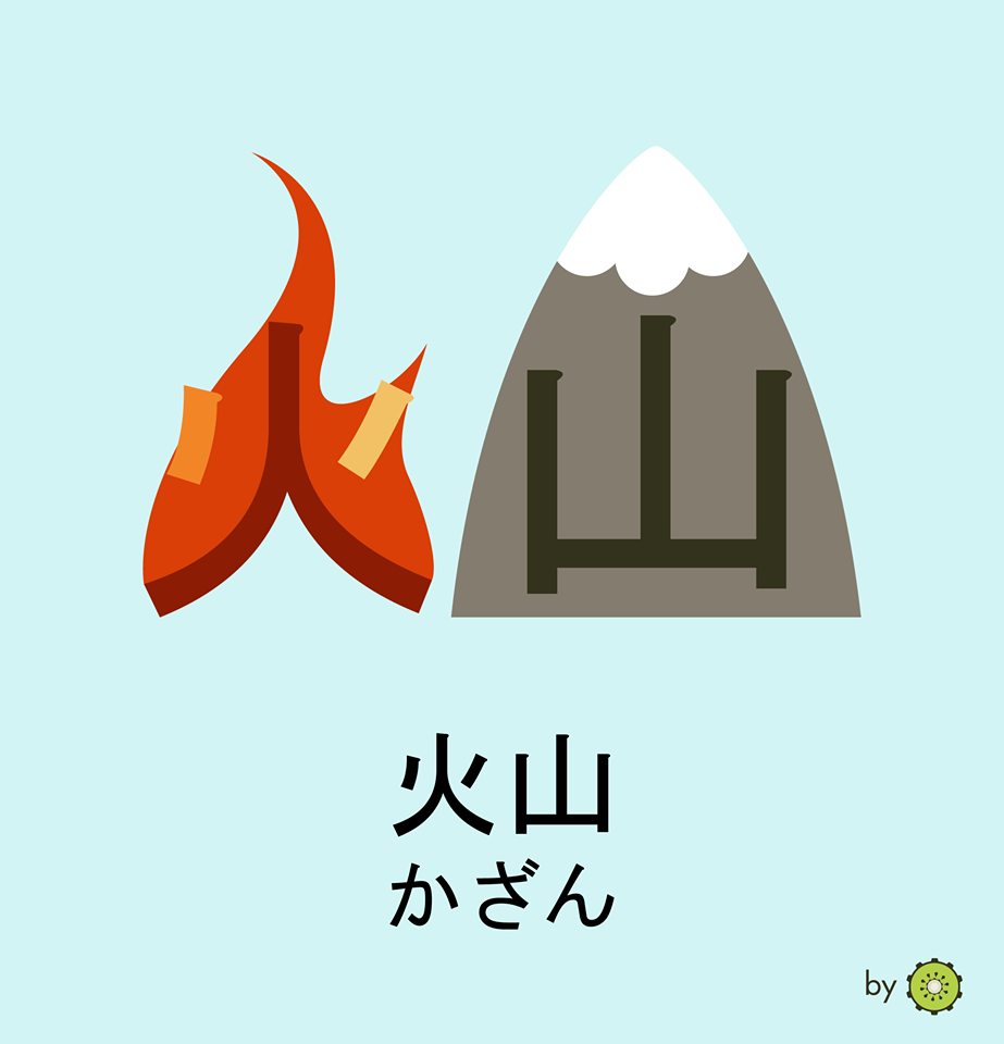 Kanji card - volcano
