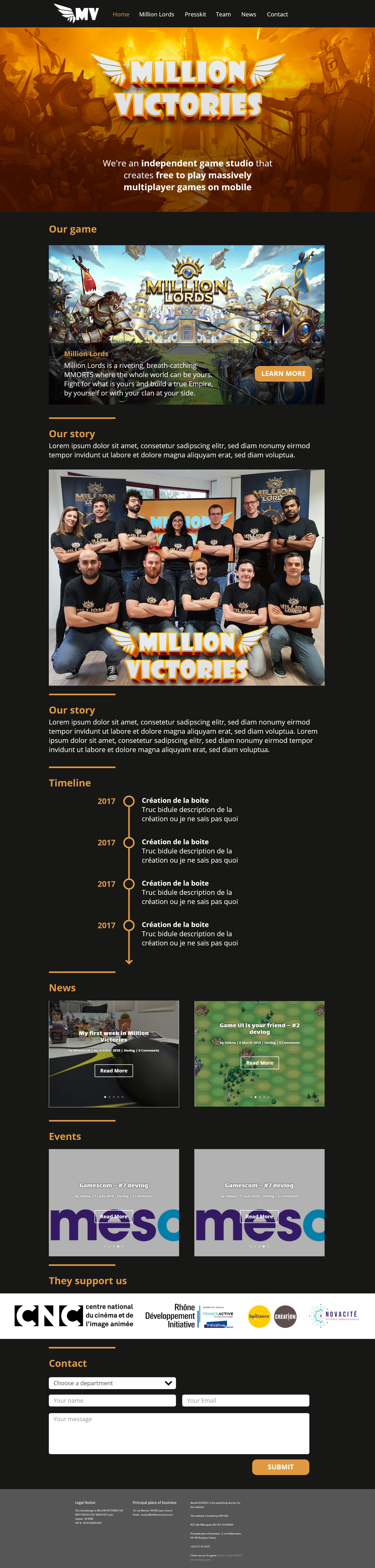 Million Victories website design