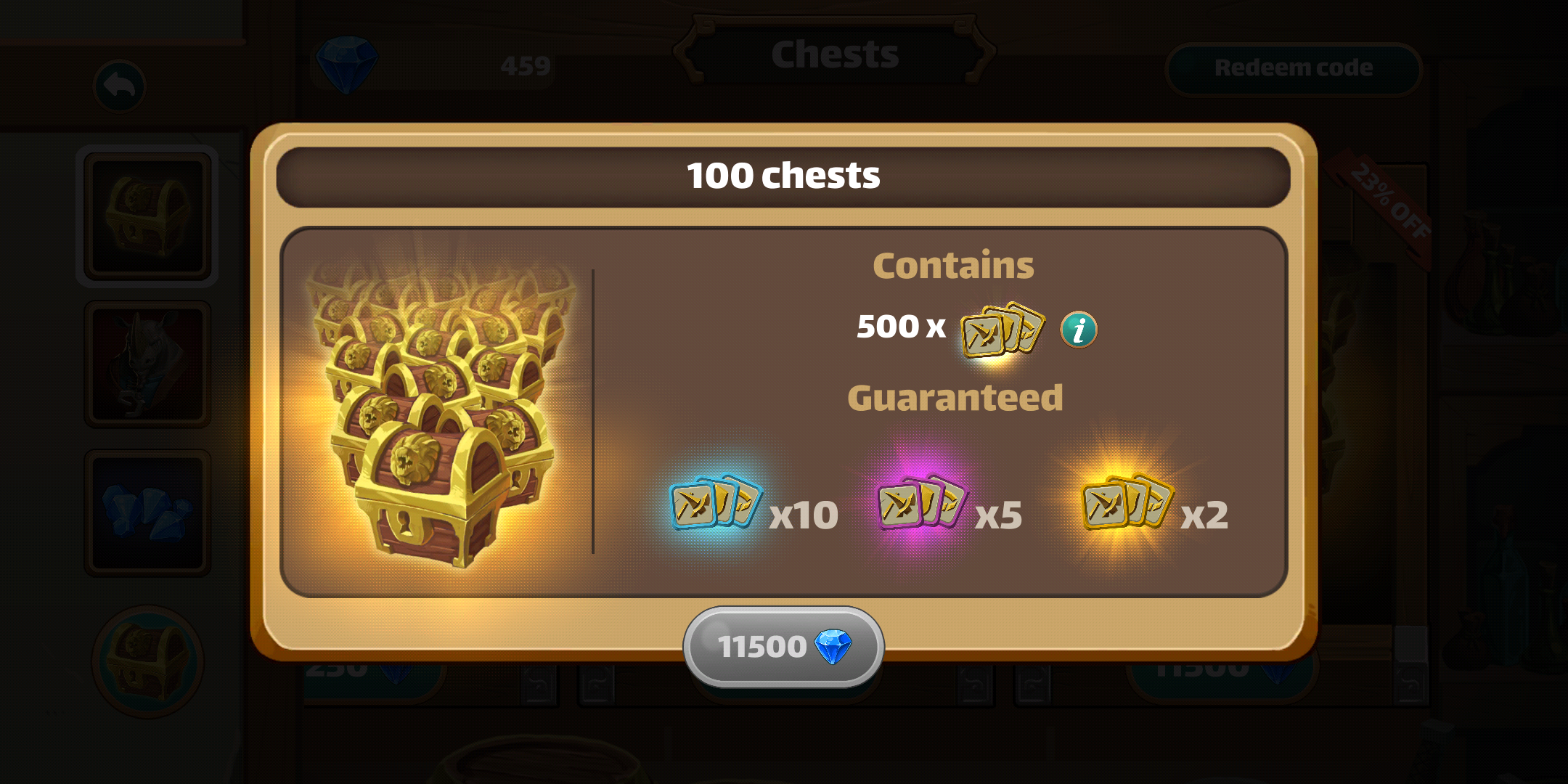 Million lords - Detailed shop panel