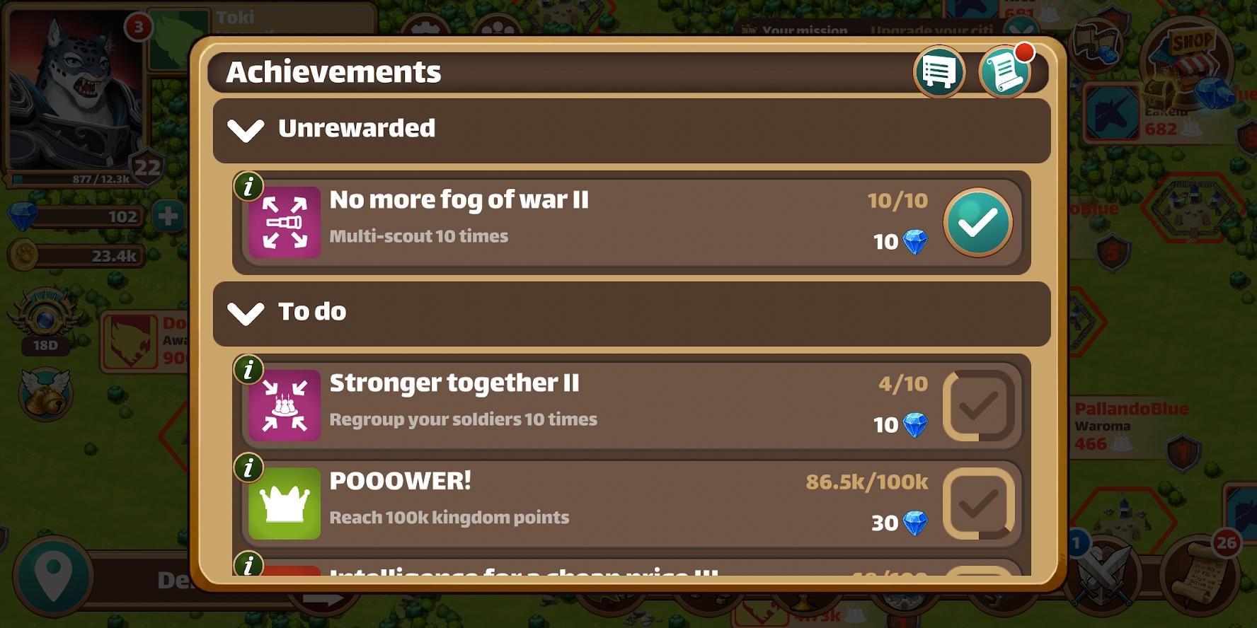 Million lords - Achievements